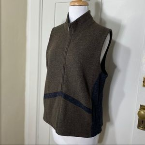 IBEX Merino wool blend  full zip brown gray vest
